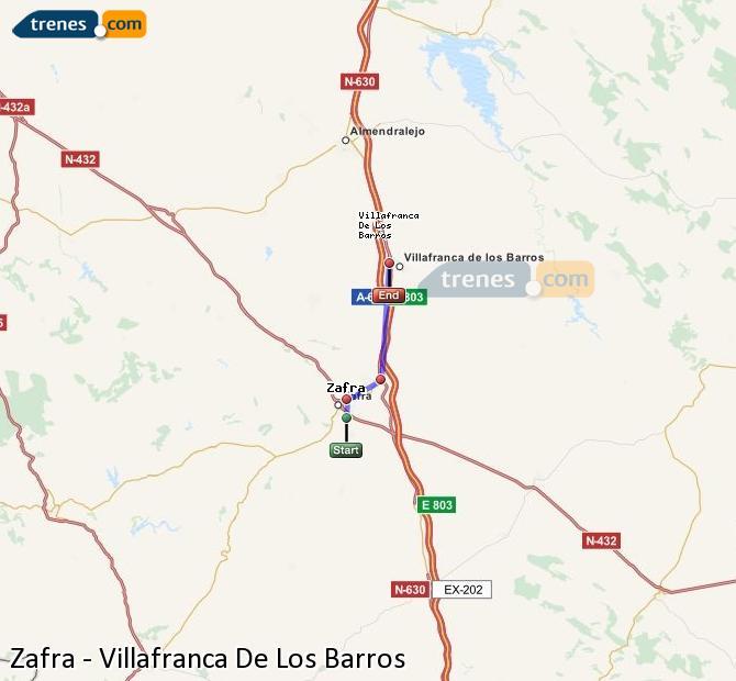 Agrandir la carte Trains Zafra Villafranca De Los Barros