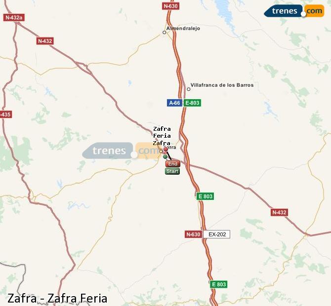Enlarge map Trains Zafra to Zafra Feria