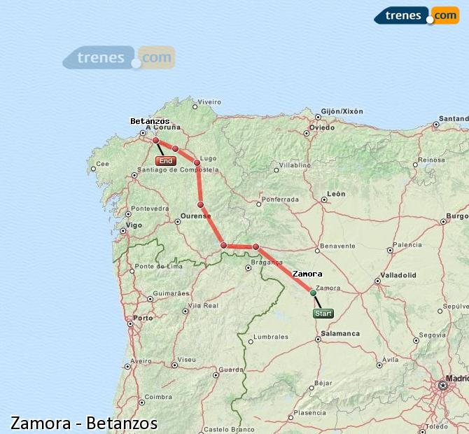 Enlarge map Trains Zamora to Betanzos
