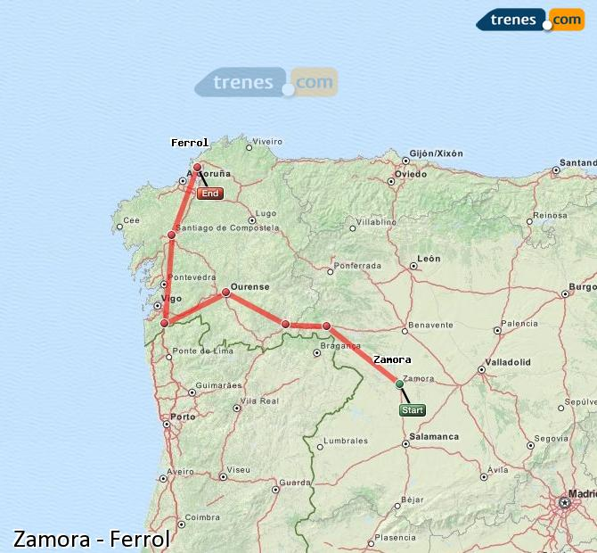 Enlarge map Trains Zamora to Ferrol