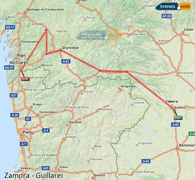Enlarge map Trains Zamora to Guillarei