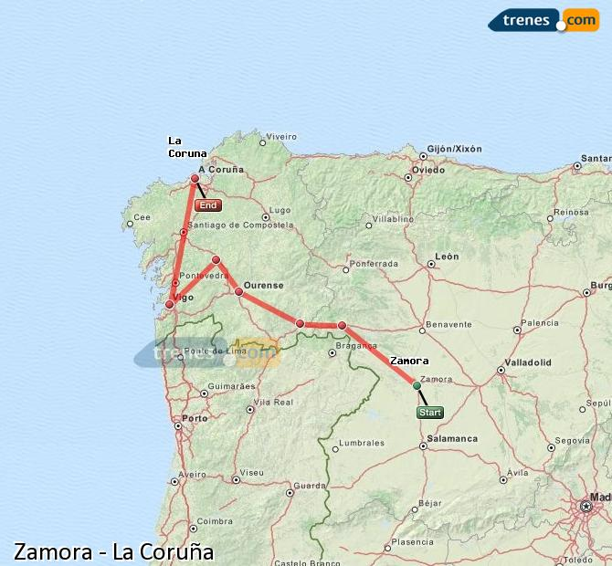 Enlarge map Trains Zamora to La Coruña