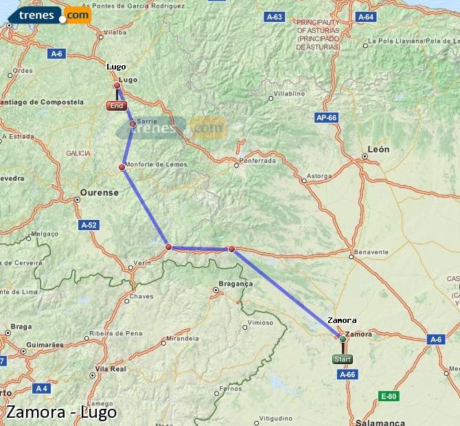 Enlarge map Trains Zamora to Lugo
