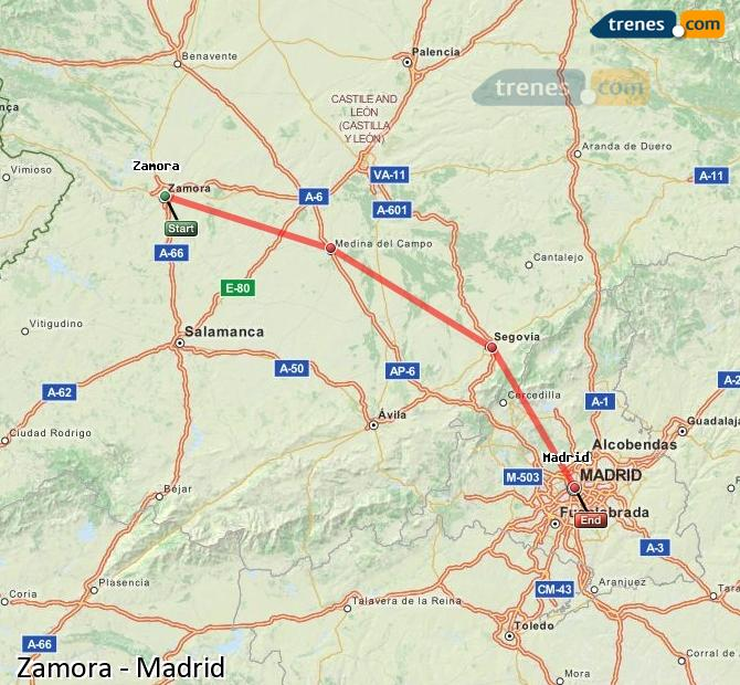 Enlarge map Trains Zamora to Madrid