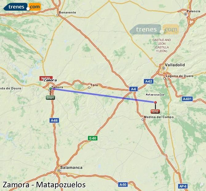 Ingrandisci la mappa Treni Zamora Matapozuelos