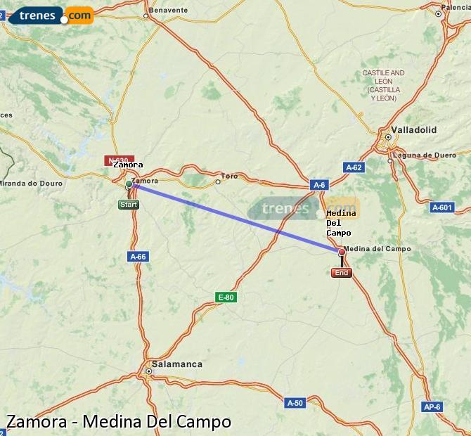 Enlarge map Trains Zamora to Medina Del Campo