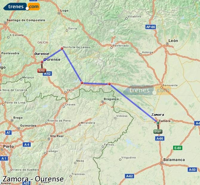 Enlarge map Trains Zamora to Ourense