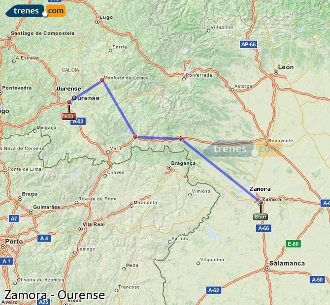 Ampliar mapa Trenes Zamora Ourense