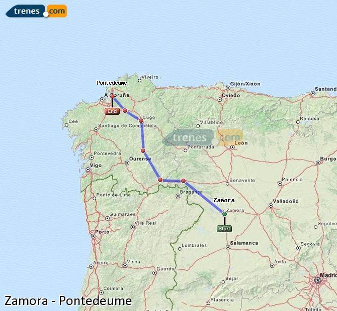 Enlarge map Trains Zamora to Pontedeume