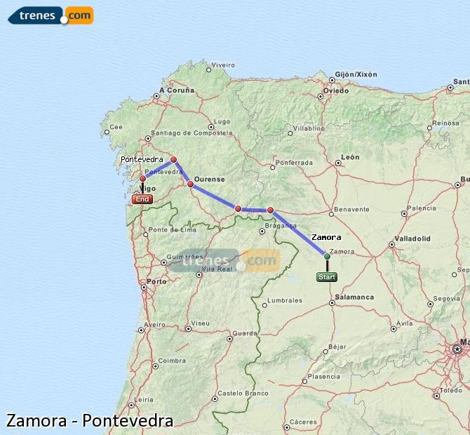 Ampliar mapa Trenes Zamora Pontevedra