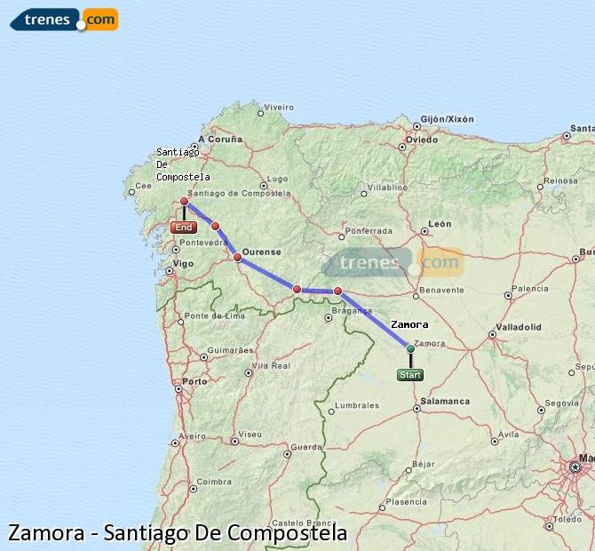 Agrandir la carte Trains Zamora Santiago De Compostela
