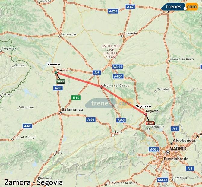 Enlarge map Trains Zamora to Segovia