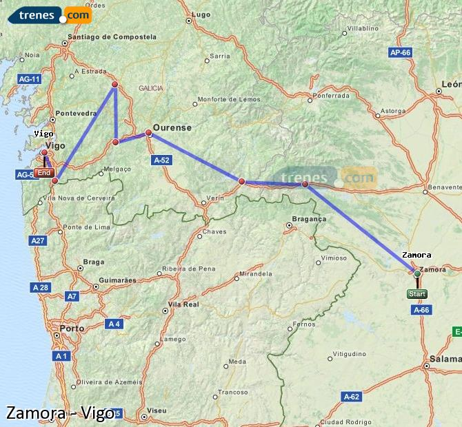 Enlarge map Trains Zamora to Vigo