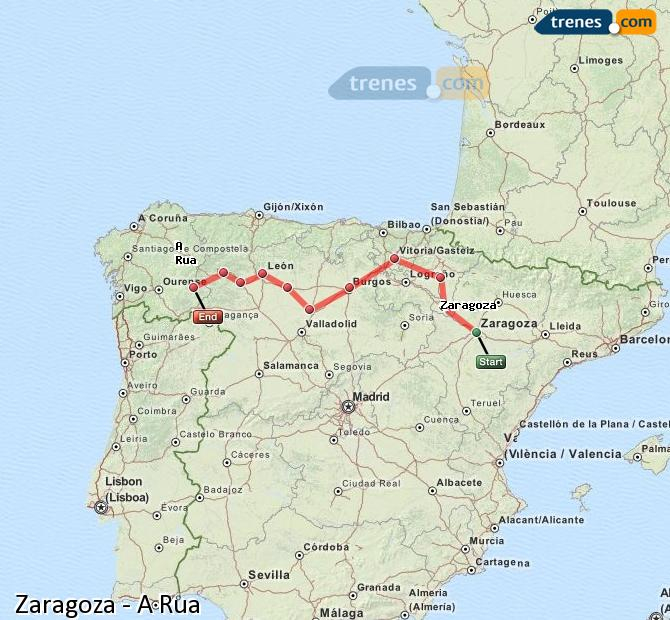 Enlarge map Trains Zaragoza to A Rua