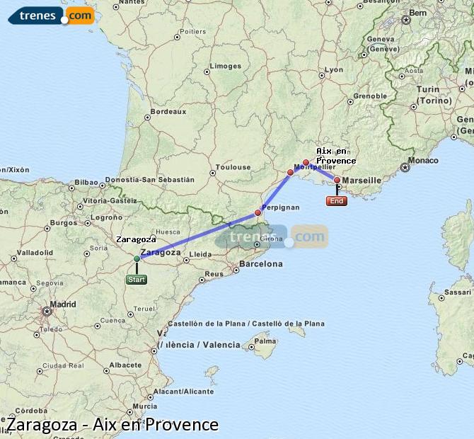 Karte vergrößern Züge Zaragoza Aix en Provence