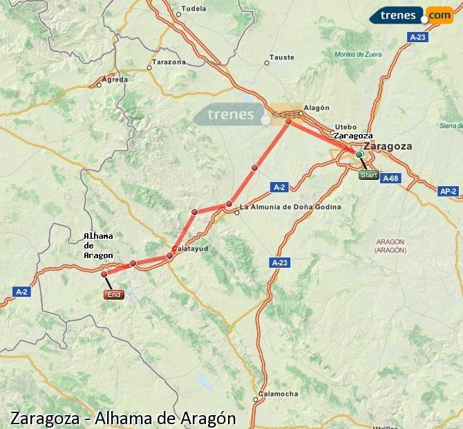 Karte vergrößern Züge Zaragoza Alhama de Aragón