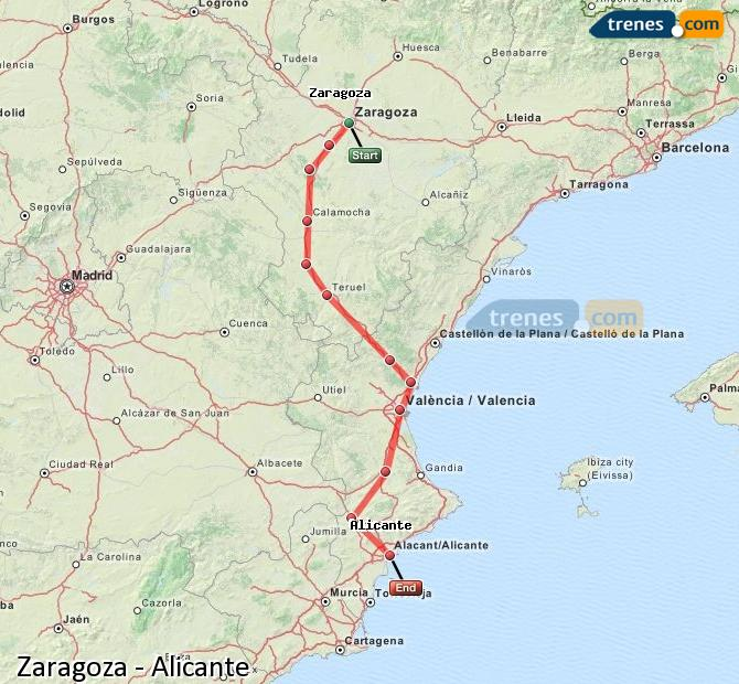 Karte vergrößern Züge Zaragoza Alicante