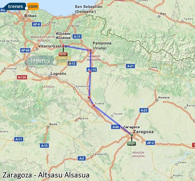 Karte vergrößern Züge Zaragoza Altsasu Alsasua