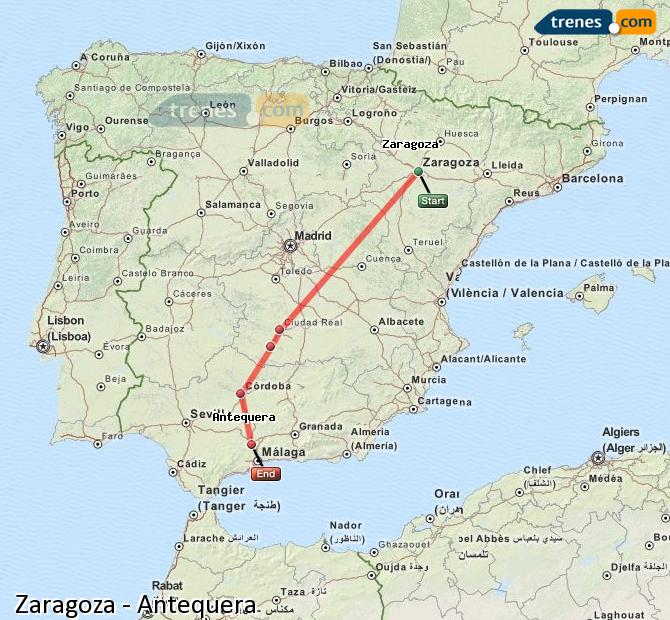 Enlarge map Trains Zaragoza to Antequera