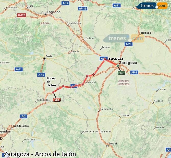 Karte vergrößern Züge Zaragoza Arcos de Jalón