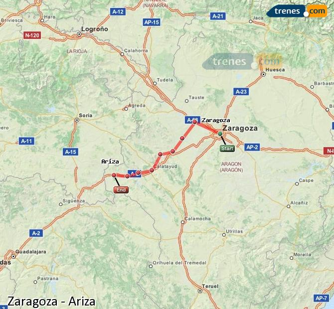 Enlarge map Trains Zaragoza to Ariza