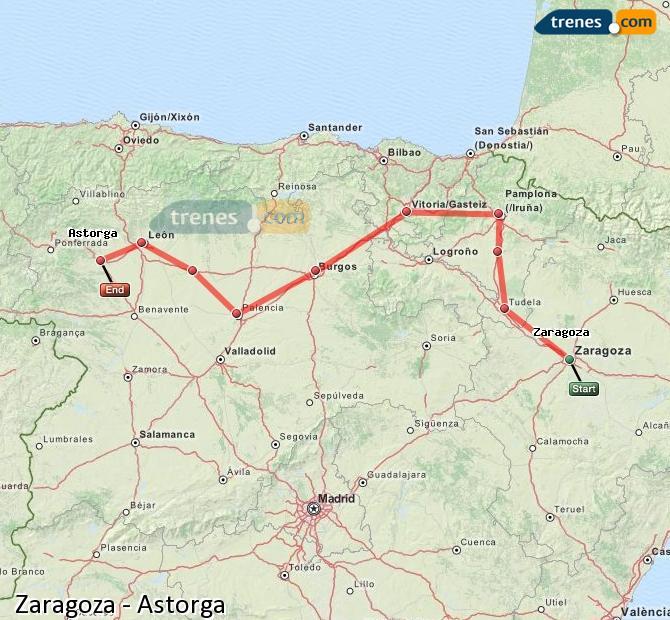 Agrandir la carte Trains Zaragoza Astorga