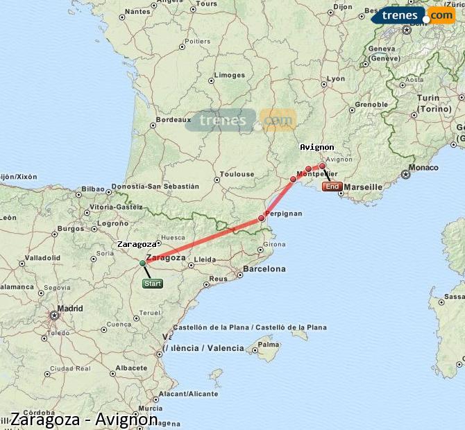 Ingrandisci la mappa Treni Zaragoza Avignon