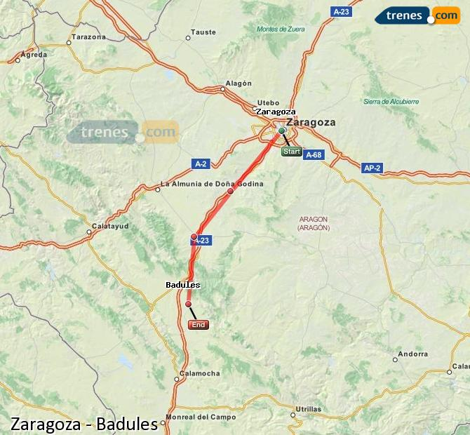 Ingrandisci la mappa Treni Zaragoza Badules
