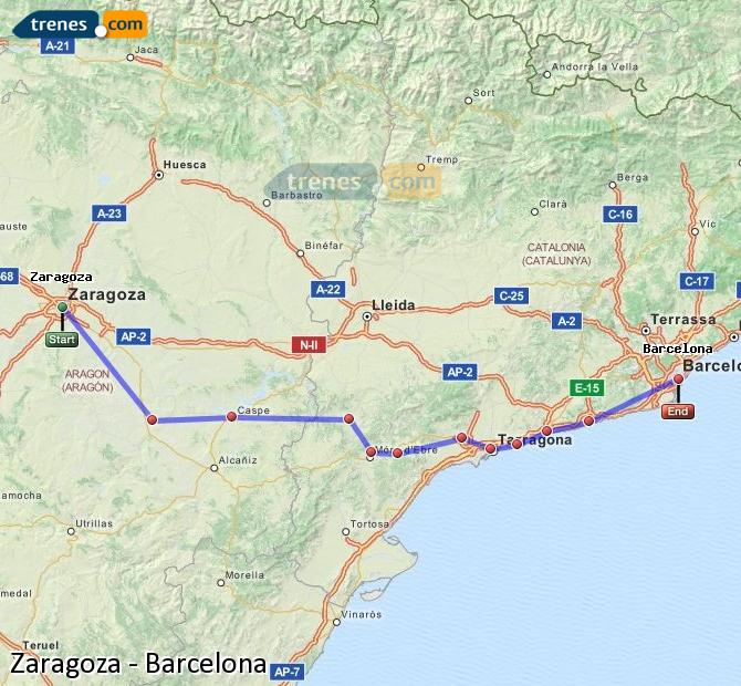 Enlarge map Trains Zaragoza to Barcelona
