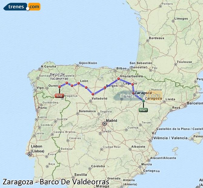 Ampliar mapa Trenes Zaragoza Barco De Valdeorras