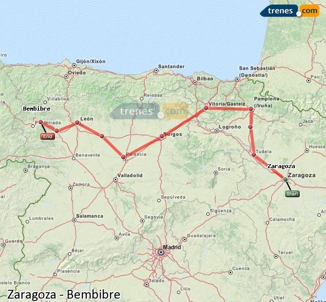 Ingrandisci la mappa Treni Zaragoza Bembibre