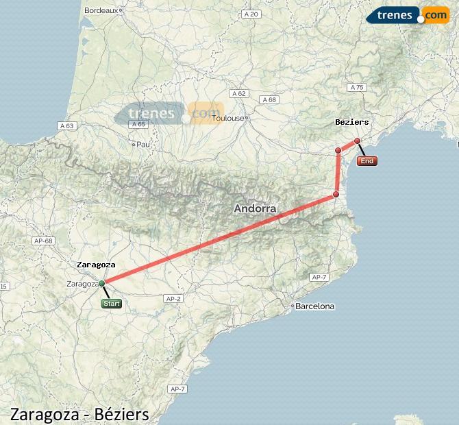 Karte vergrößern Züge Zaragoza Béziers