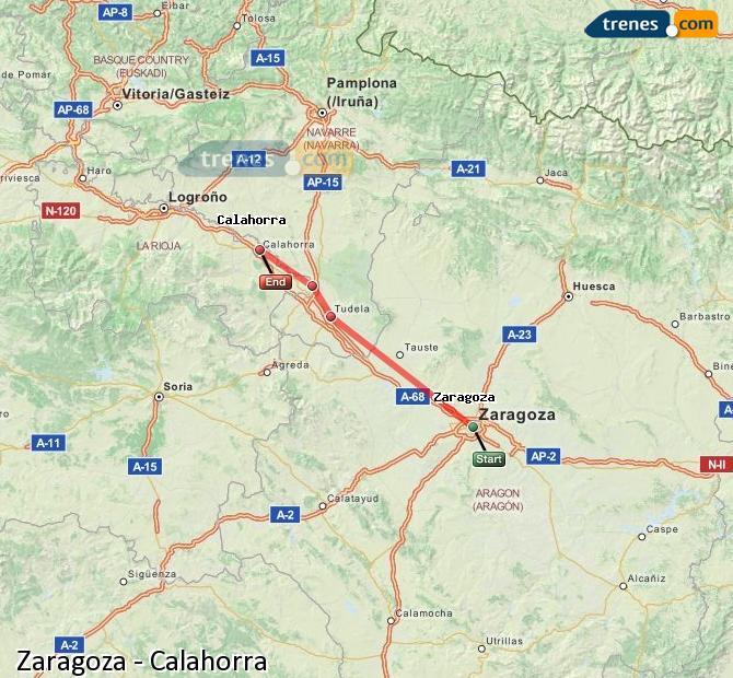 Enlarge map Trains Zaragoza to Calahorra