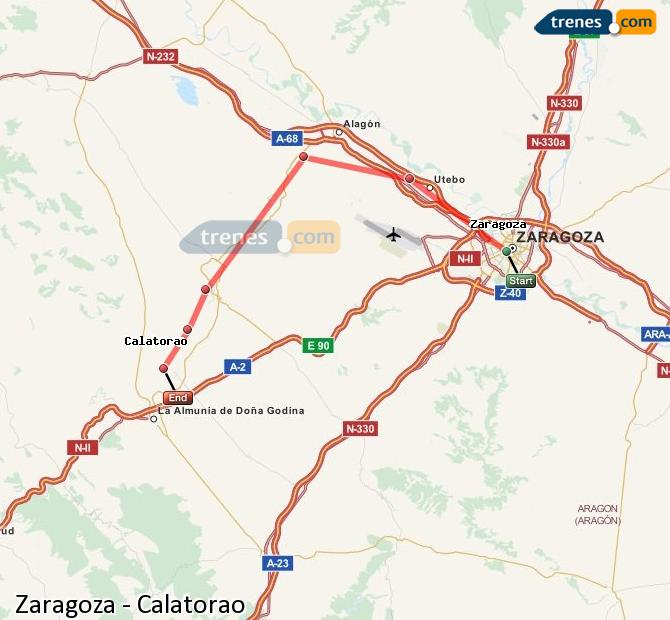 Enlarge map Trains Zaragoza to Calatorao