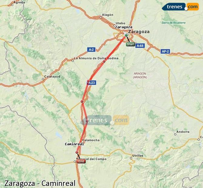 Enlarge map Trains Zaragoza to Caminreal