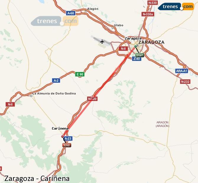 Karte vergrößern Züge Zaragoza Cariñena