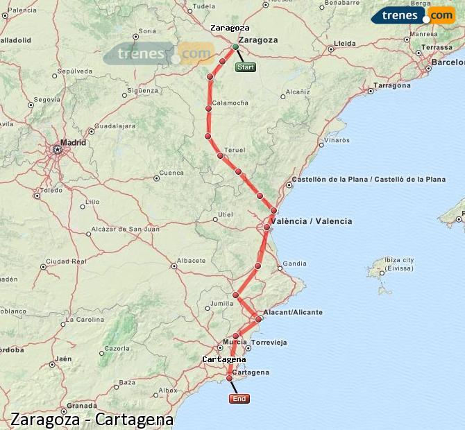 Karte vergrößern Züge Zaragoza Cartagena