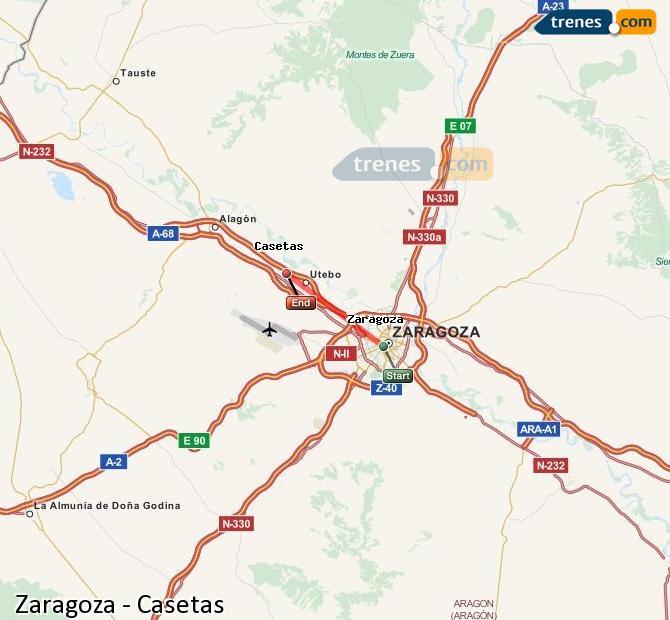 Karte vergrößern Züge Zaragoza Casetas