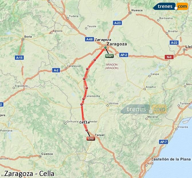 Ingrandisci la mappa Treni Zaragoza Cella
