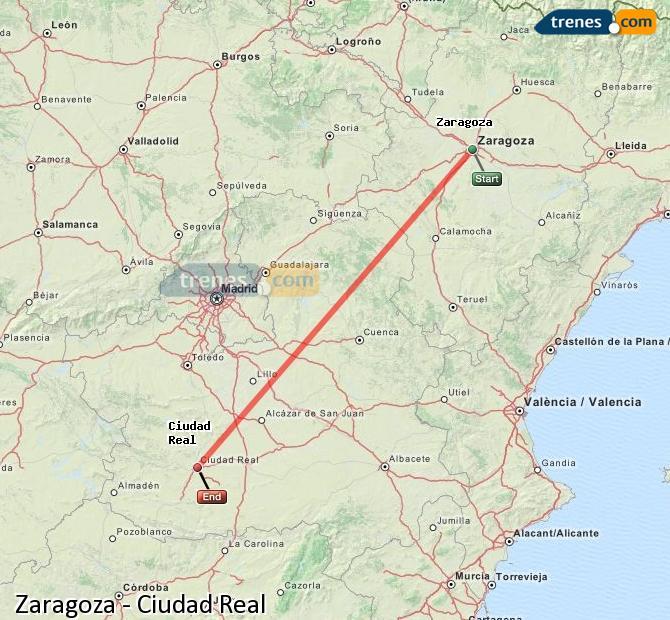 Agrandir la carte Trains Zaragoza Ciudad Real