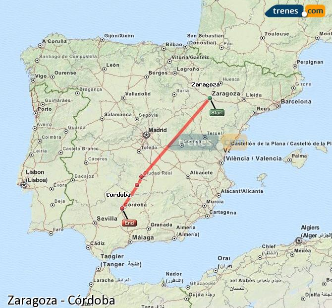 Enlarge map Trains Zaragoza to Córdoba