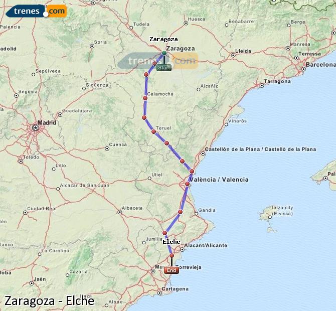 Agrandir la carte Trains Zaragoza Elche
