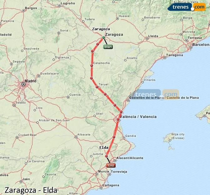 Agrandir la carte Trains Zaragoza Elda
