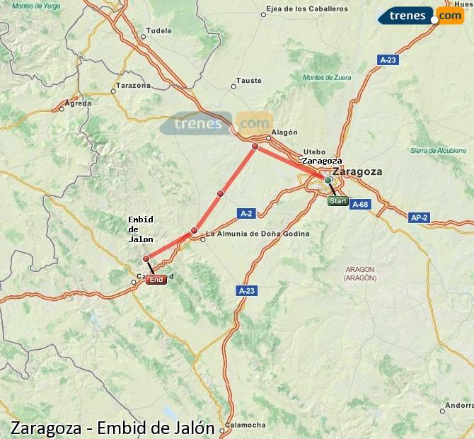 Karte vergrößern Züge Zaragoza Embid de Jalón
