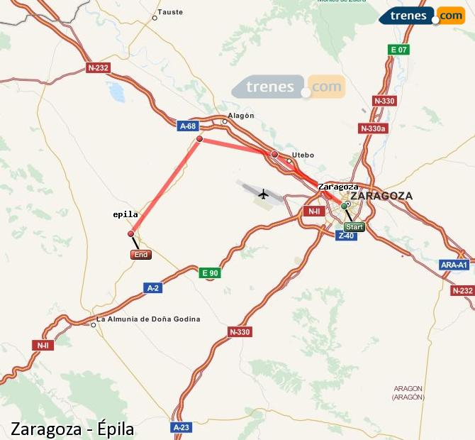 Enlarge map Trains Zaragoza to Epila