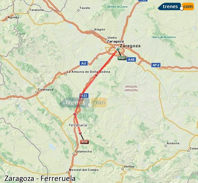 Enlarge map Trains Zaragoza to Ferreruela