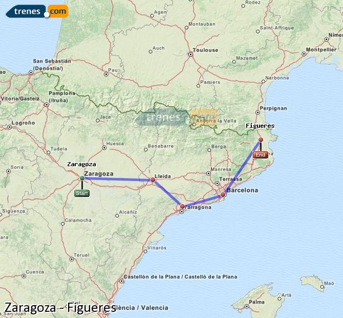 Enlarge map Trains Zaragoza to Figueres