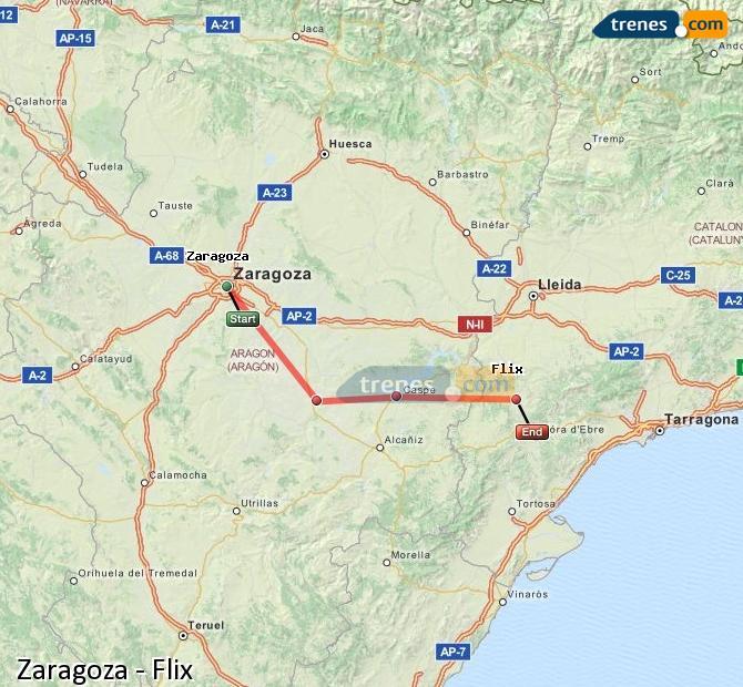 Karte vergrößern Züge Zaragoza Flix