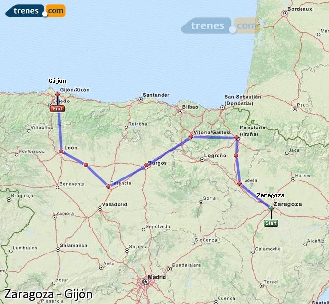 Karte vergrößern Züge Zaragoza Gijón