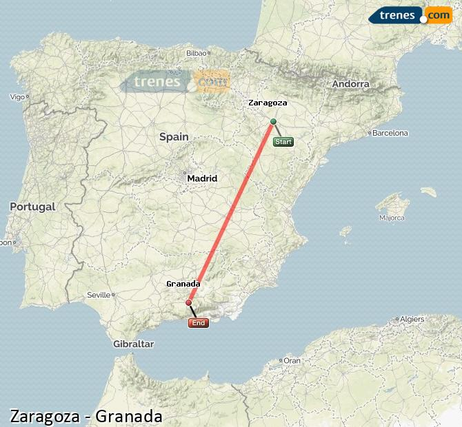 Ampliar mapa Trenes Zaragoza Granada